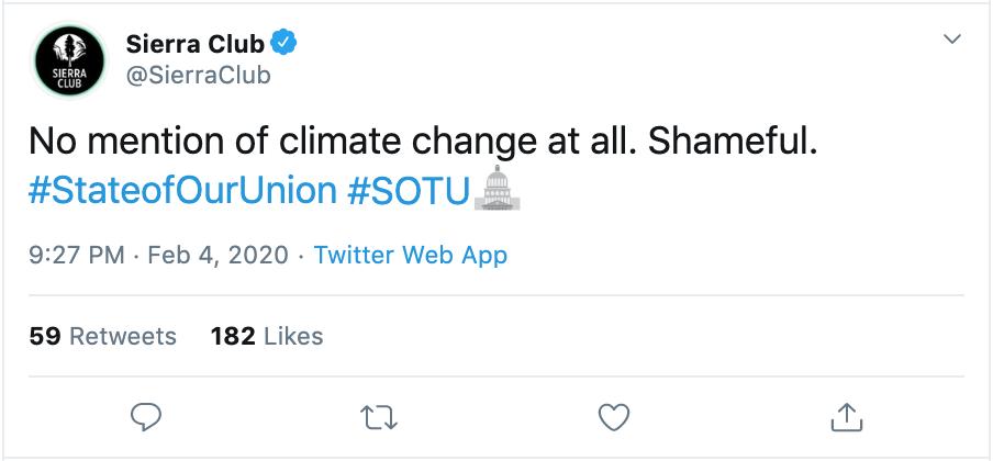 Sierra Club Tweet.