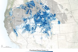 In 2018, snowpack in the Rocky Mountains was much lower than usual. Credit: Joshua Stevens/NASA Earth Observatory