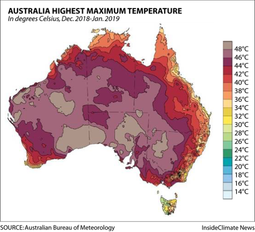 Australia Highest Maximum Temperature