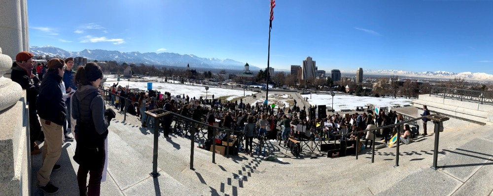 The School Strike for Climate a year ago drew hundreds of protesters to the Utah State Capitol, and to locations worldwide. Credit: Judy Fahys/InsideClimate News