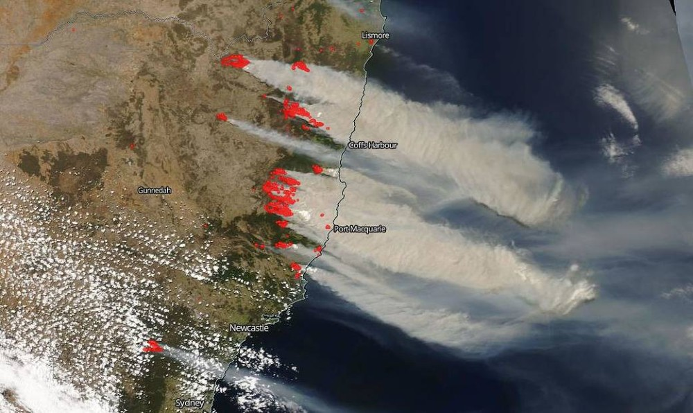 Australia wildfires satellite image. Credit: NASA