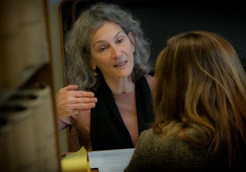 Defendant Jan Zuckerman discusses strategy with her attorney Laura Regan. Credit: Rick Rappaport