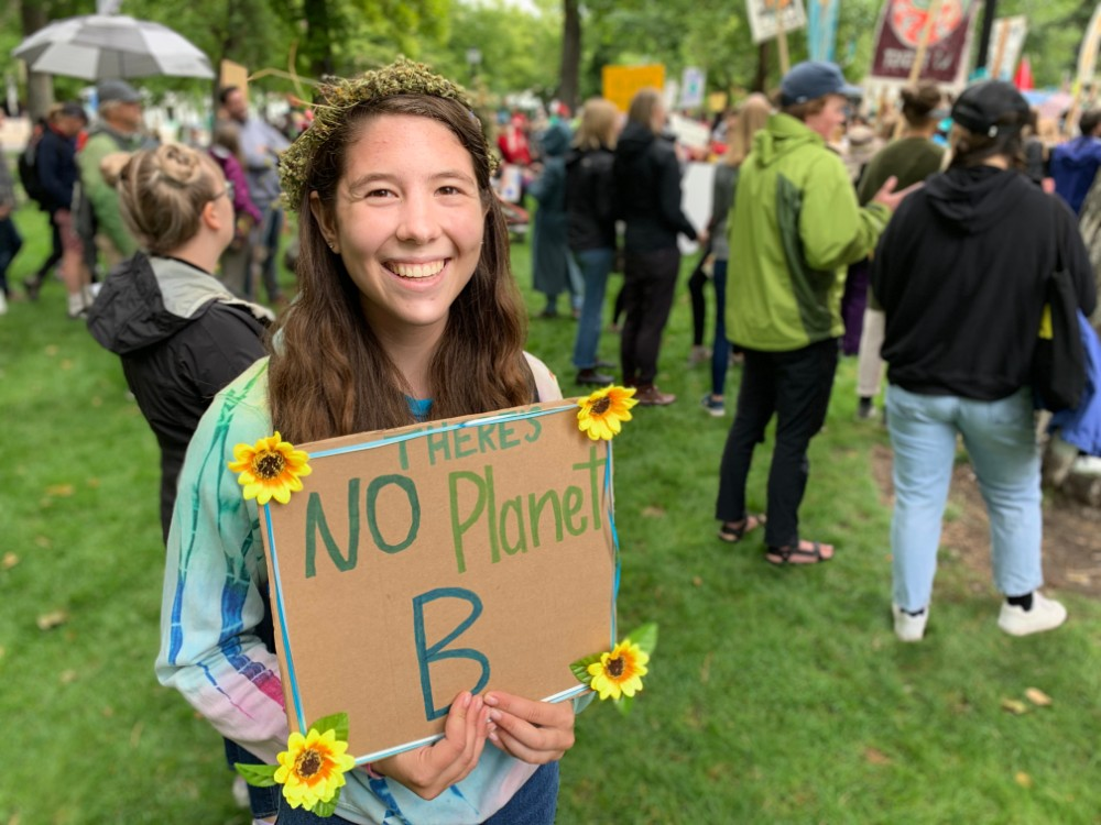 Kate Lohman skipped classes at Utah Valley University to participate in a climate strike rally and march in Salt Lake City. Credit: Judy Fahys/InsideClimateNews.org
