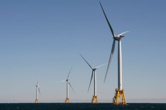 Block Island Wind Farm, located off the shore of Rhode Island. Credit: Don Emmert/AFP via Getty Images