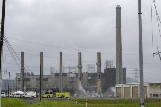 LG&E imploded the Can Run Generating Station in Louisville on June 8, four years after the coal plant had been decommissioned. Credit: LG&E