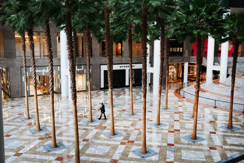 An empty mall in lower Manhattan on March 29, 2020