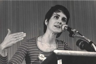 Frances Moore Lappé speaks at a New York City event in the late 1970s.