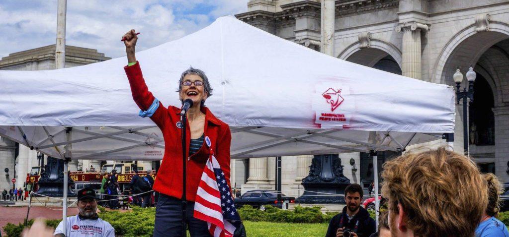 Frances Moore Lappé participates in a rally in April 2016 in Washington, D.C. Photo Courtesy of Frances Moore Lappé