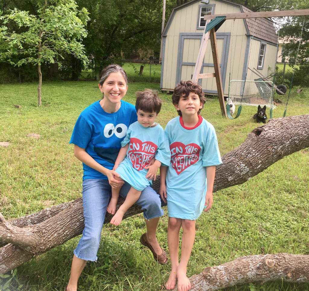 Heather Eichling poses with her sons Luca (7) and Joaquin (2) Garcia as part of the #inthistogether campaign to support local San Antonio businesses and front-line workers.