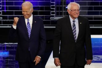 Joe Biden and Bernie Sanders. Credit: Drew Angerer/Getty Images