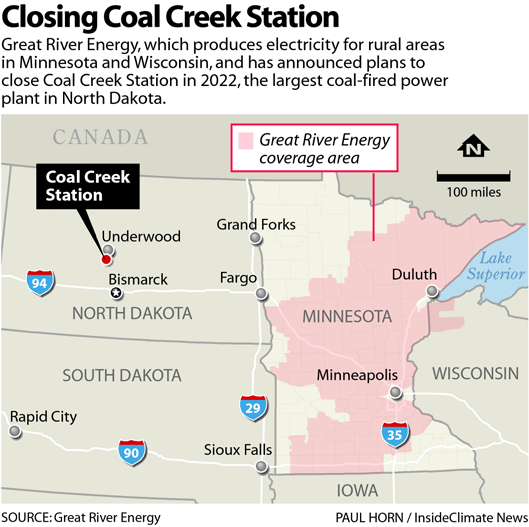 Map: Closing Coal Creek Station