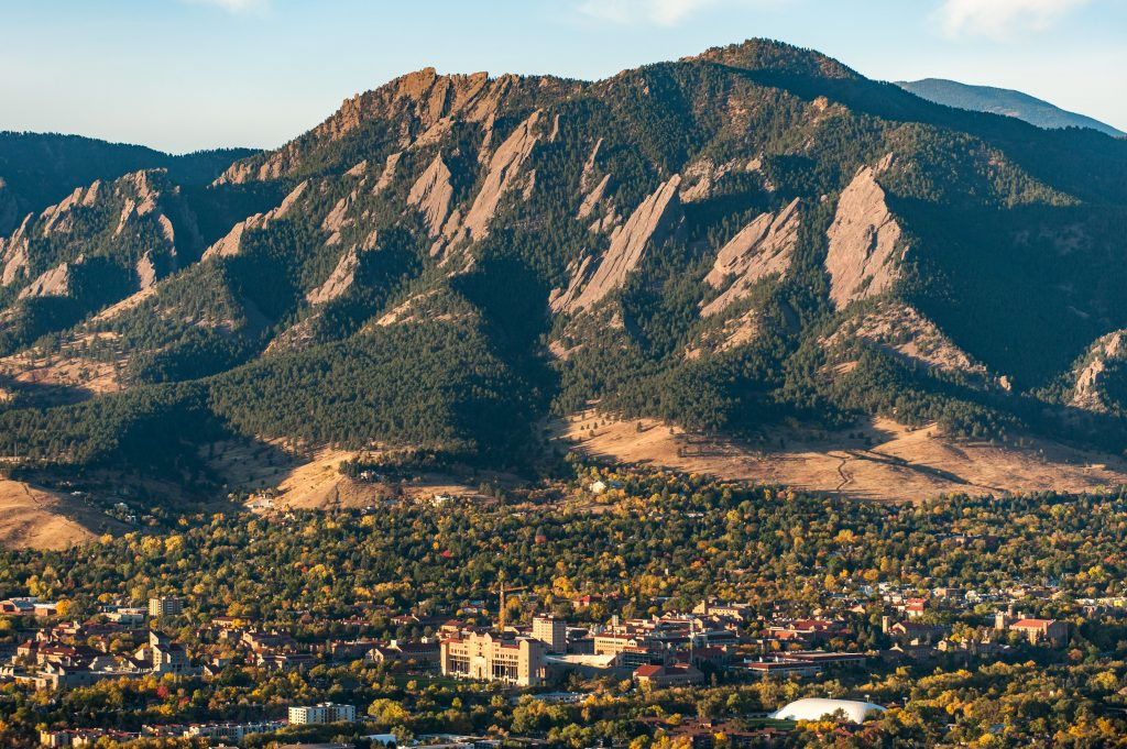 The University of Colorado Boulder sits below the iconic Flatirons on Colorado's Front Range. Credit: Ted Wood