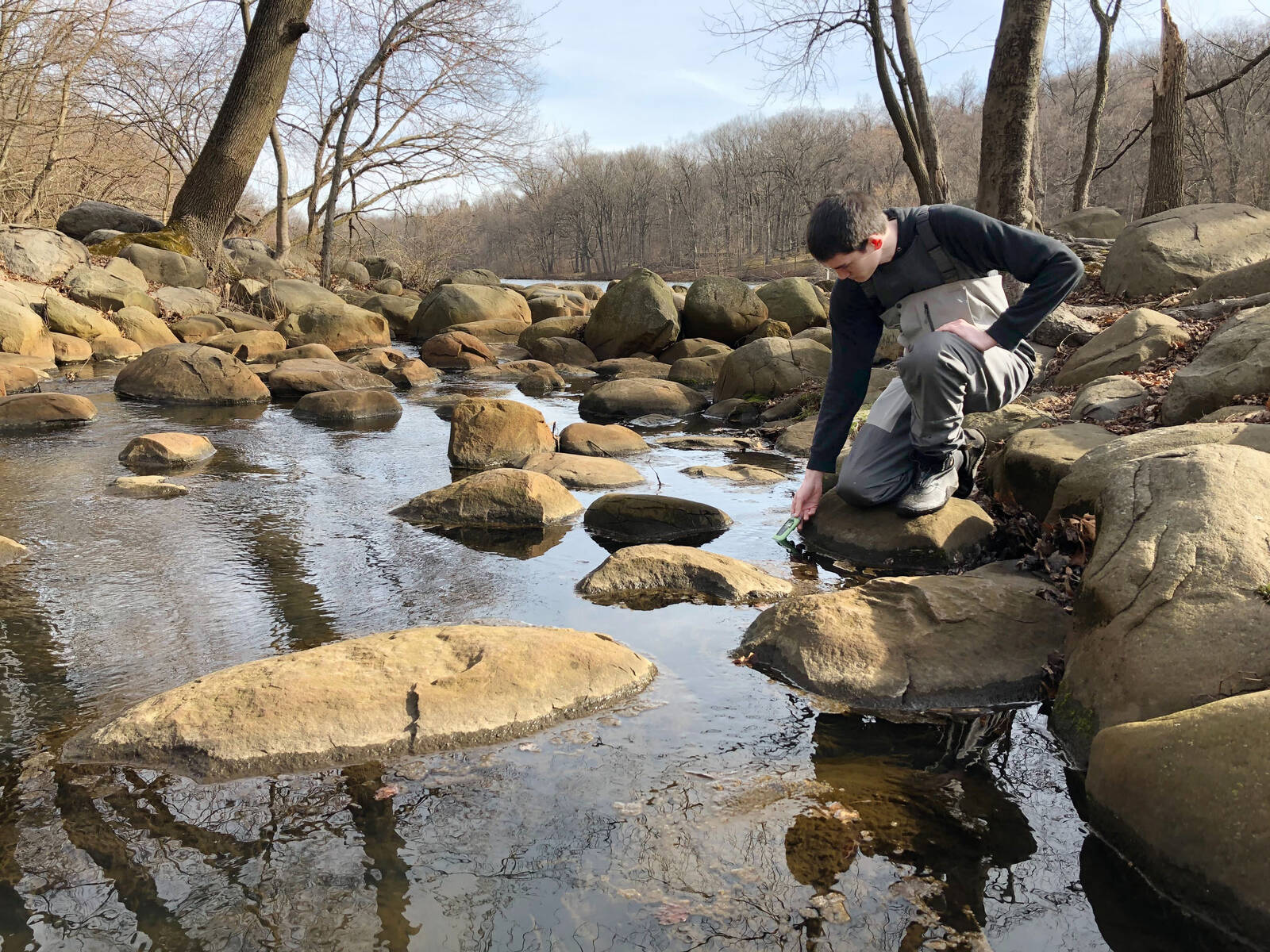 Liam McGrath, a Manhattan College student and citizen scientist with Van Cortlandt Park Alliance, dips a water quality probe into Tibbetts Brook. Credit: Maddie Kornfeld