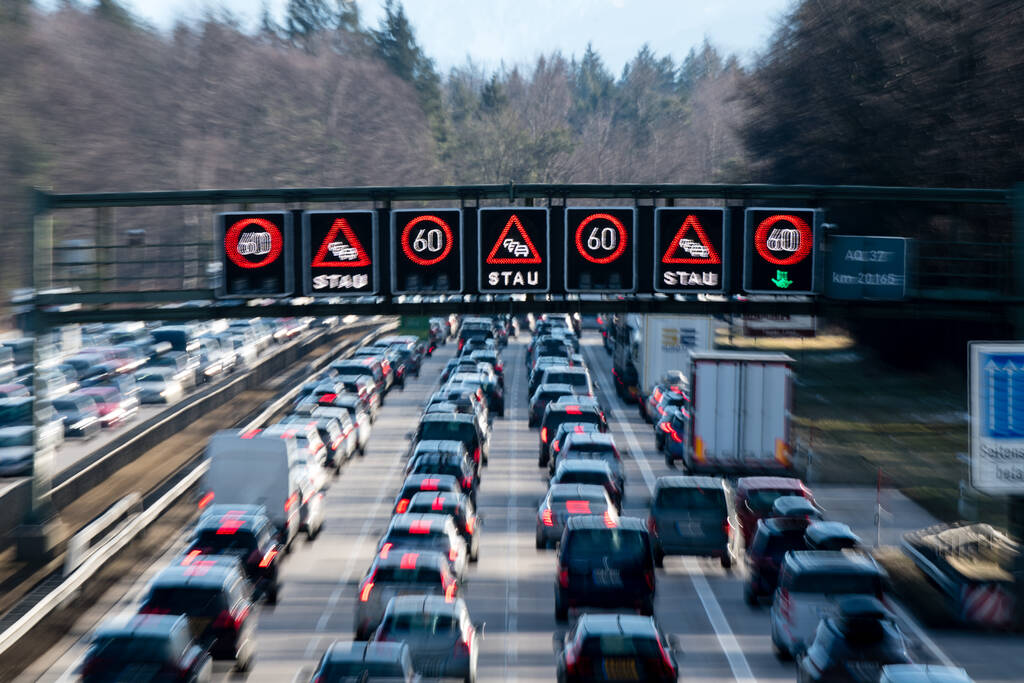 Dense traffic on Autobahn 8 in Germany. Credit: Matthias Balk/picture alliance via Getty Images