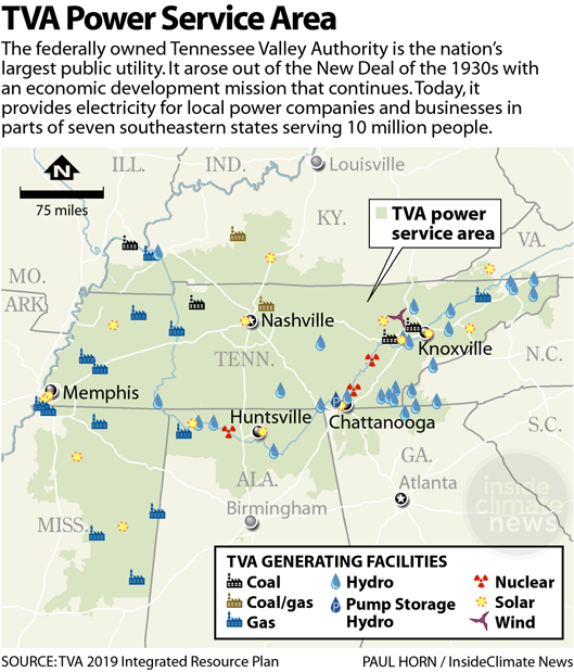 MAP: TVA's Power Plants and Service Area
