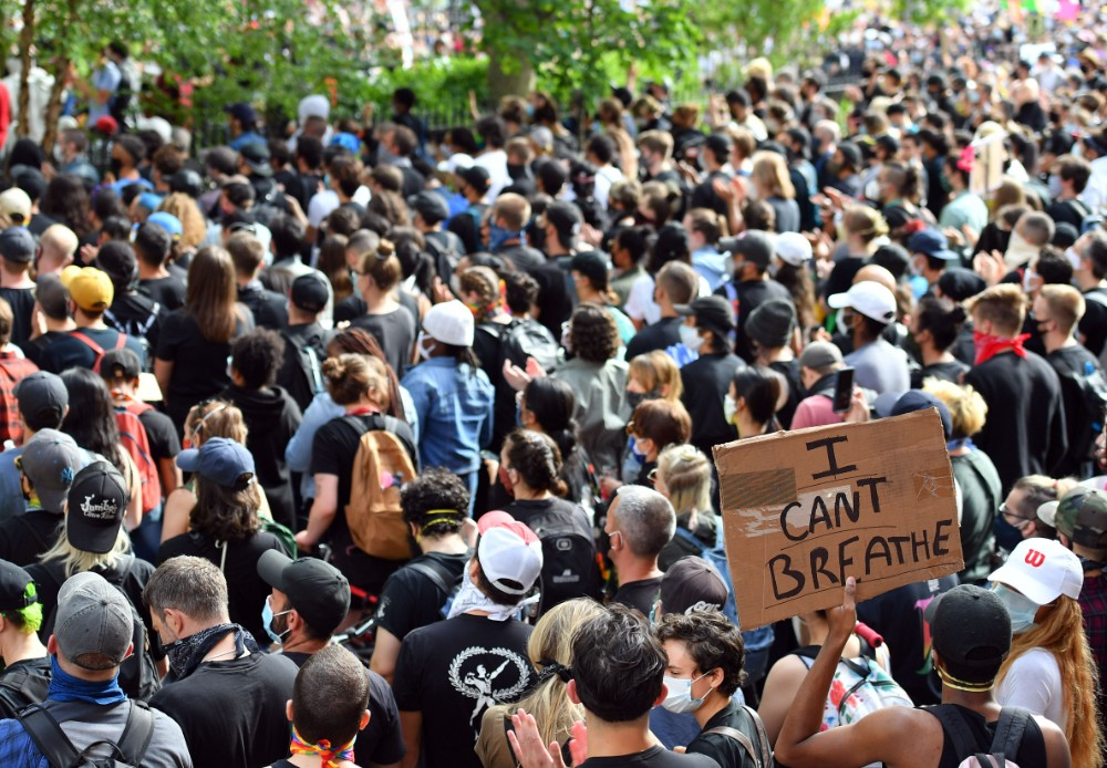 """Protesters demonstrate on June 2, 2020, during a """"Black Lives Matter"""" protest in New York City. Anti-racism protests have put several cities under curfew to suppress rioting, following the death of George Floyd while in police custody. Credit: Angela Weis"""