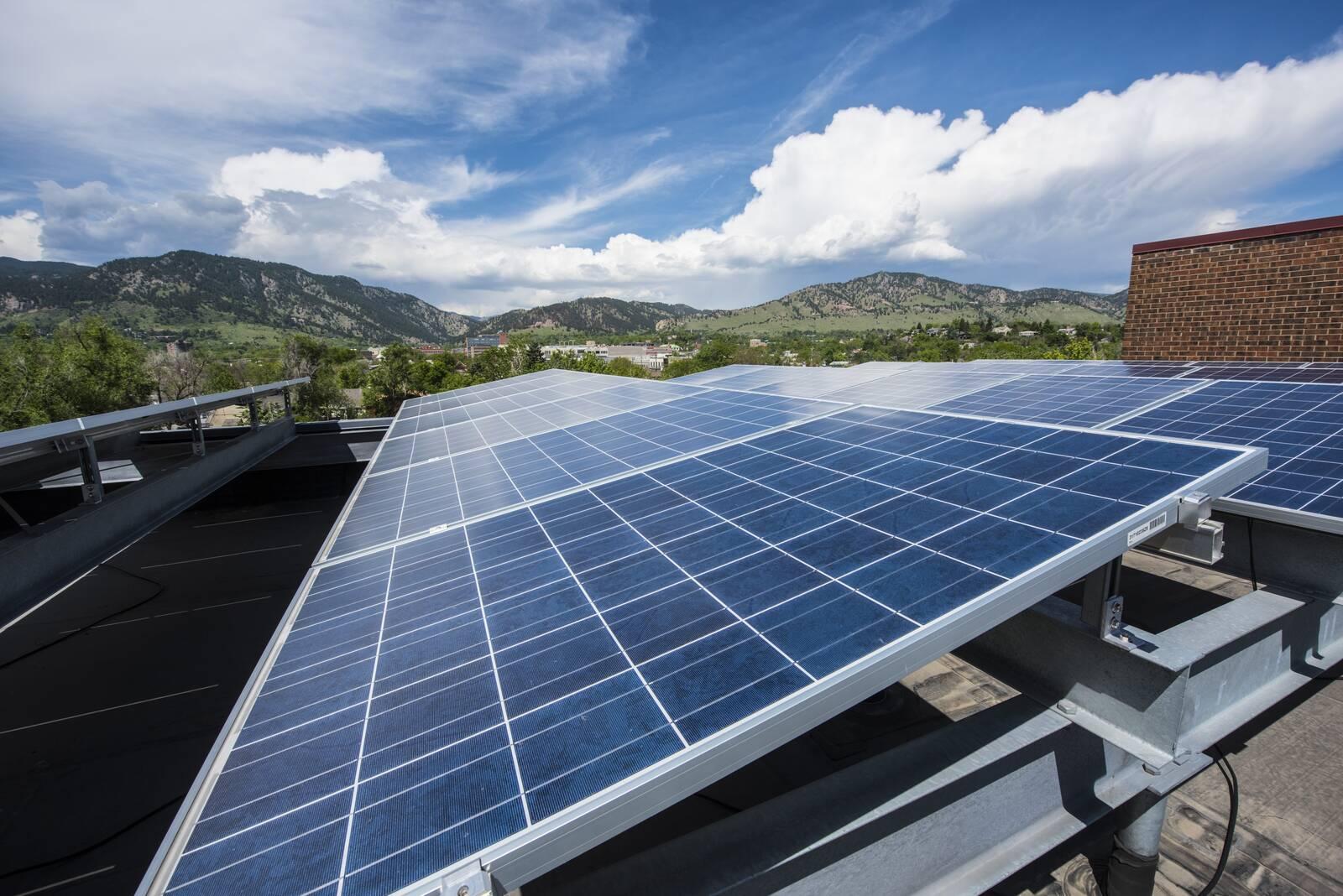 Solar panels on a senior housing complex in Boulder, Colorado. Credit: Dennis Schroeder/NREL