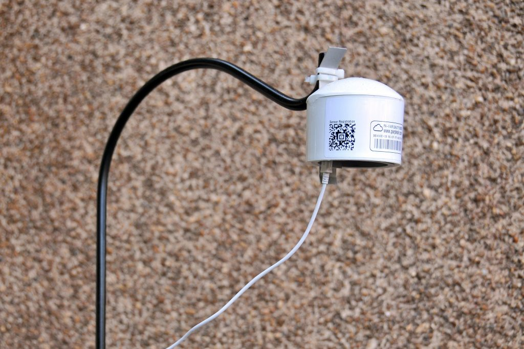 An AirKeepers PM 2.5 sensor, placed at a government office in Raleigh, North Carolina, which reports real-time data over wifi. Courtesy of Calvin Cupini