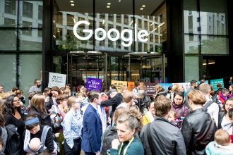 An Extinction Rebellion environmental activist mother group protest outside Google UK HQ demanding they stop climate deniers profiting on their platforms on October 16, 2019 in London, England. Credit: Ollie Millington/Getty Images