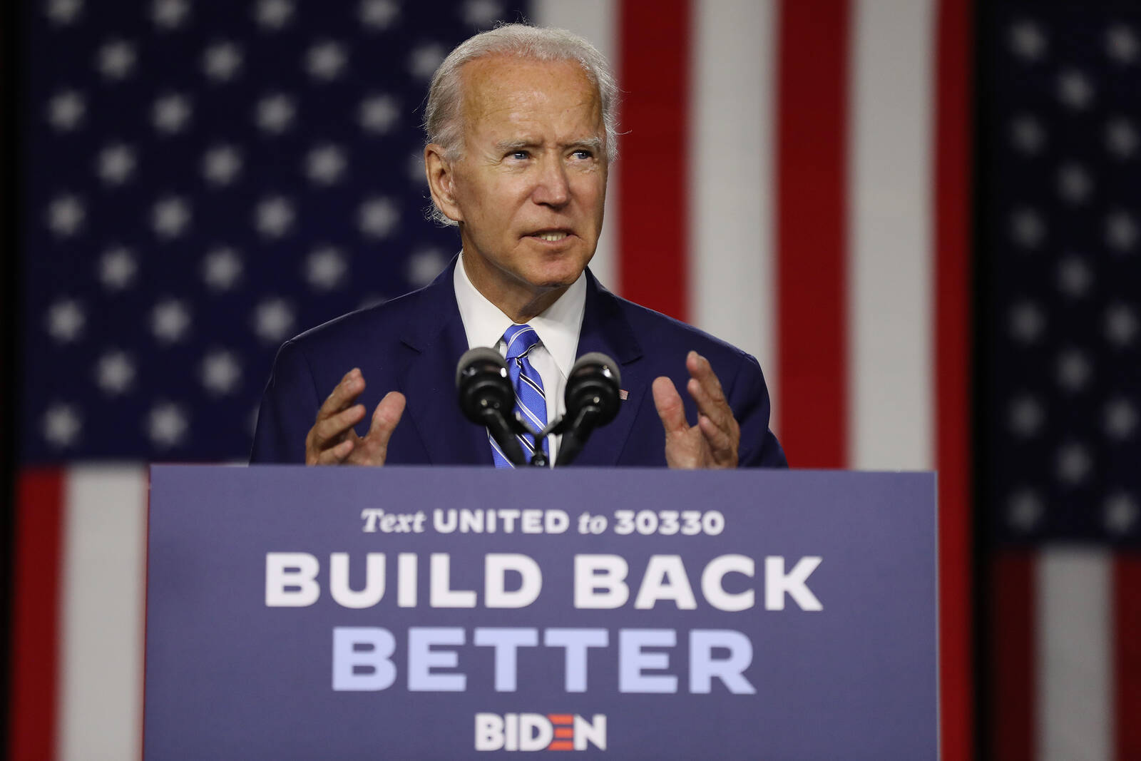 Democratic presidential candidate former Vice President Joe Biden speaks at the Chase Center July 14, 2020 in Wilmington, Delaware. Biden delivered remarks on his campaign's 'Build Back Better' clean energy economic plan. Credit: Chip Somodevilla/Getty Im