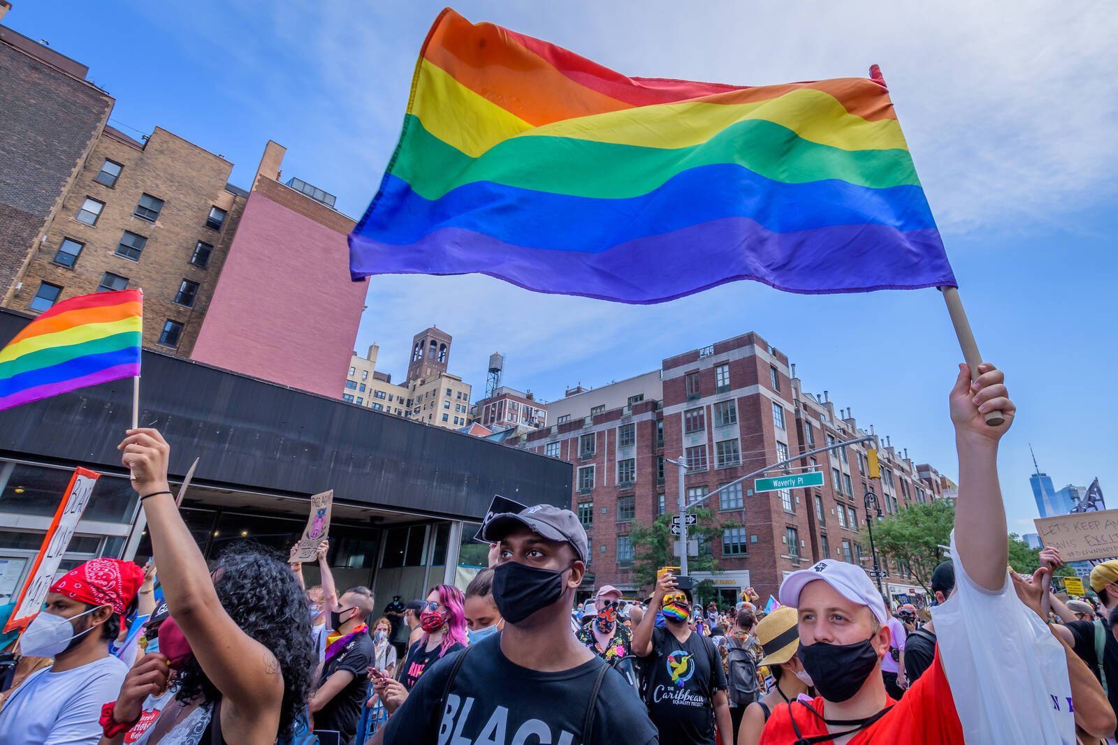 "Pride activists took to the streets of Manhattan for the ""Queer Liberation March for Black Lives and Against Police Brutality"". Credit: Erik McGregor/LightRocket via Getty Images"