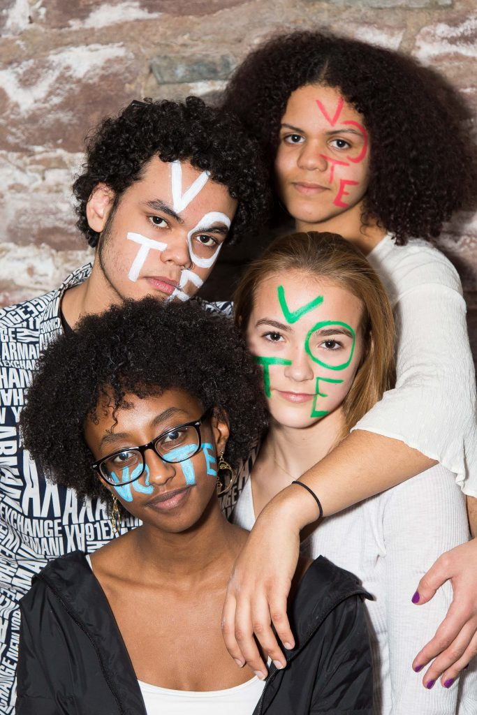 Extinction Rebellion Youth activists Betsy Balbuena, Adam Neville, Lena Habtu, and Lily Blue joined Plus1Vote for a photo shoot last April to promote youth voting. Credit: Cassell Ferere for Plus1Vote
