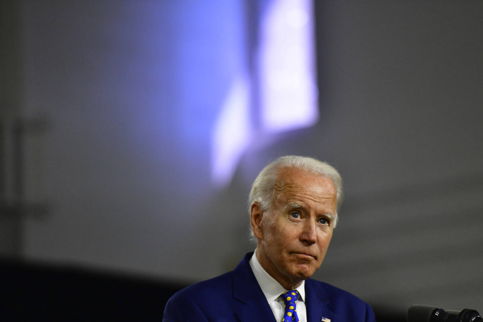 Joe Biden listens to a question from the media after delivering a speech at the William Hicks Anderson Community Center, on July 28, 2020 in Wilmington, Delaware. Credit: Mark Makela/Getty Images