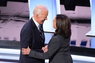 Joe Biden and Kamala Harris greet each other ahead of the second round of the second Democratic primary debate of the 2020 presidential campaign season. Biden selected Harris as his running mate on Tuesday. Credit: Jim Watson/AFP via Getty Images