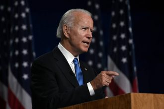 Former vice-president Joe Biden accepts the Democratic Party nomination for president during the last day of the Democratic National Convention, being held virtually amid the novel coronavirus pandemic, at the Chase Center in Wilmington, Delaware.