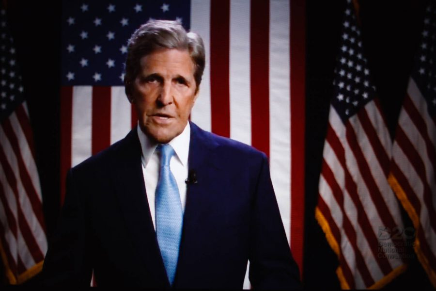 Former US Secretary of State John Kerry addresses the virtual 2020 Democratic National Convention on August 19, 2020. The four-day event, initially postponed from July, is taking place almost wholly remotely in response to the coronavirus pandemic.