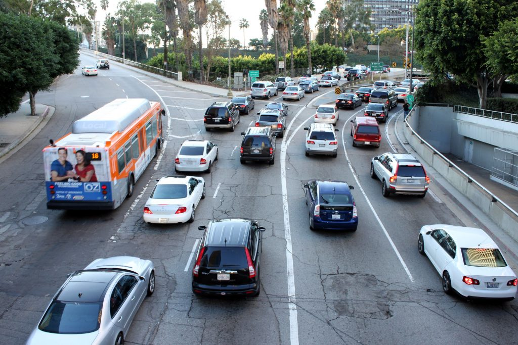 Cars drive in Los Angeles traffic. Credit: Prayitno/flickr