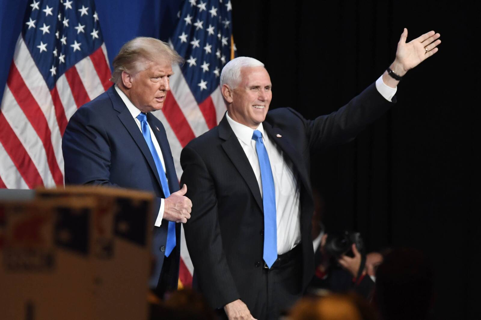 President Donald Trump and Vice President Mike Pence greet delegates on the first day of the Republican National Convention at the Charlotte Convention Center on Aug. 24, 2020 in Charlotte, North Carolina. Credit: David T. Foster III-Pool/Getty Images