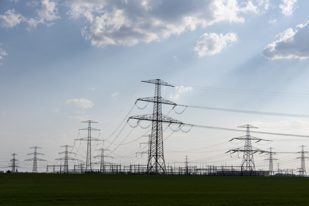 At the transformer station, electricity pylons are placed close together. Credit: Stephan Schulz/picture alliance via Getty Images