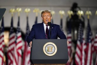 President Donald Trump speaks on the fourth and final night of the Republican National Convention with a speech delivered in front a live audience on the South Lawn of the White House on Aug. 27, 2020. Credit: Jabin Botsford/The Washington Post via Getty