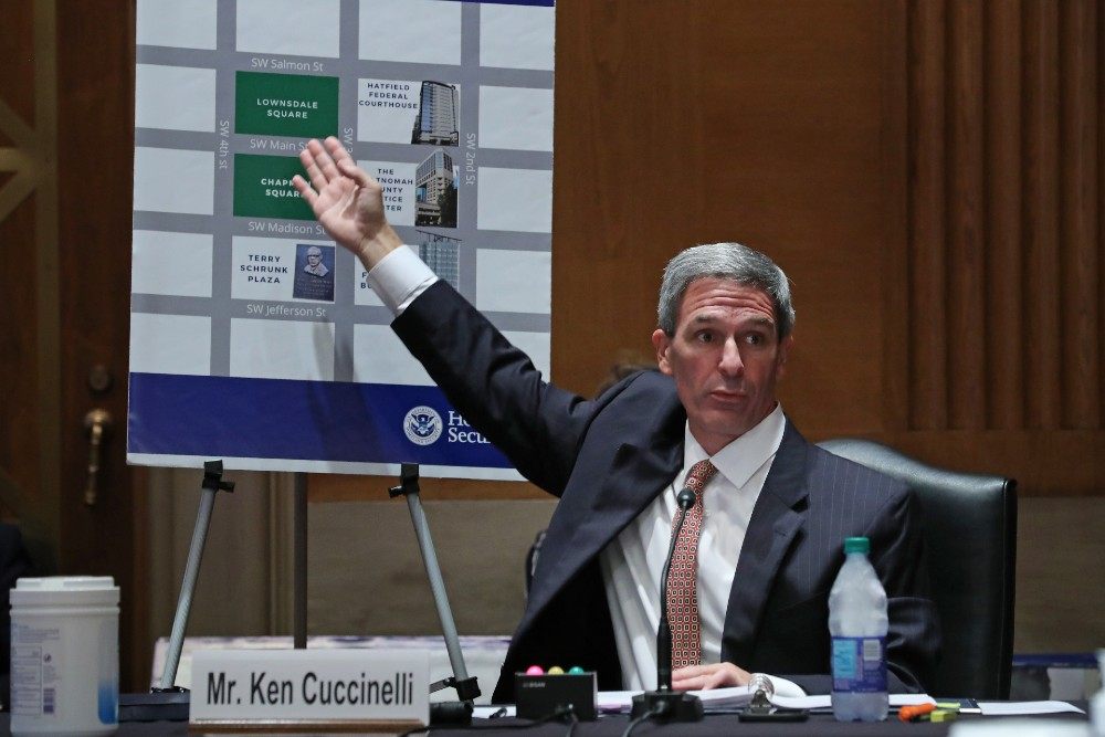 Acting Deputy Secretary of Homeland Security Ken Cuccinelli points to a map of downtown Portland, Oregon, while testifying to the Senate Judiciary Committee's Subcommittee on the Constitution August 4, 2020.
