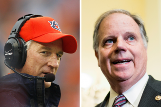 Former Auburn football head coach Tommy Tuberville (left) is running against Sen. Doug Jones (D-Ala.) to represent Alabama in the Senate. Credit: Kevin C. Cox/WireImage; Bill Clark/CQ-Roll Call, Inc via Getty Images