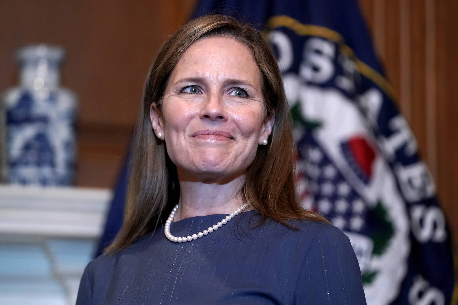 Seventh U.S. Circuit Court Judge Amy Coney Barrett, President Donald Trump's nominee for the U.S. Supreme Court, meets with Sen. John Thune (R-S.D.) as she begins a series of meetings to prepare for her confirmation hearing at the U.S. Capitol on Sept. 29