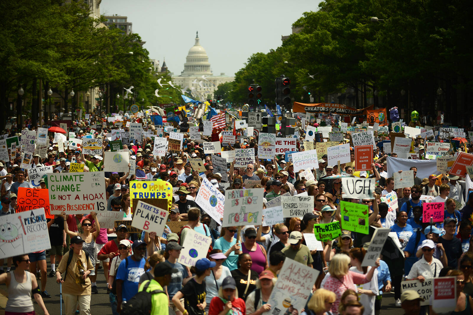 People march from the U.S. Capitol to the White House for the People's Climate Movement on April 29, 2017 in Washington, D.C. Credit: Astrid Riecken/Getty Images