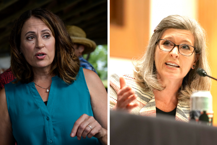 Democrat Theresa Greenfield (left) is running against Sen. Joni Ernst (R-Iowa) to represent Iowa in the Senate. Credit: Caroline Brehman/CQ Roll Call; Greg Nash/Pool/AFP via Getty Images