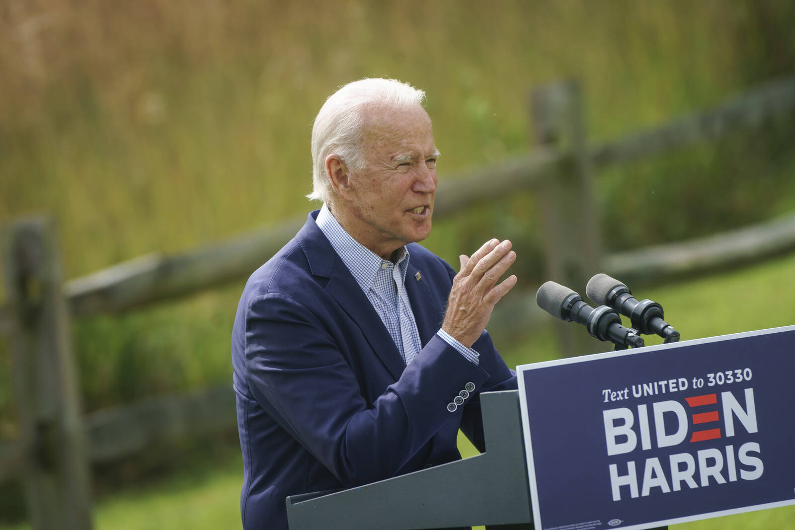Democratic presidential nominee Joe Biden speaks about climate change and the wildfires on the West Coast at the Delaware Museum of Natural History on Sept. 14, 2020 in Wilmington, Delaware. Credit: Drew Angerer/Getty Images