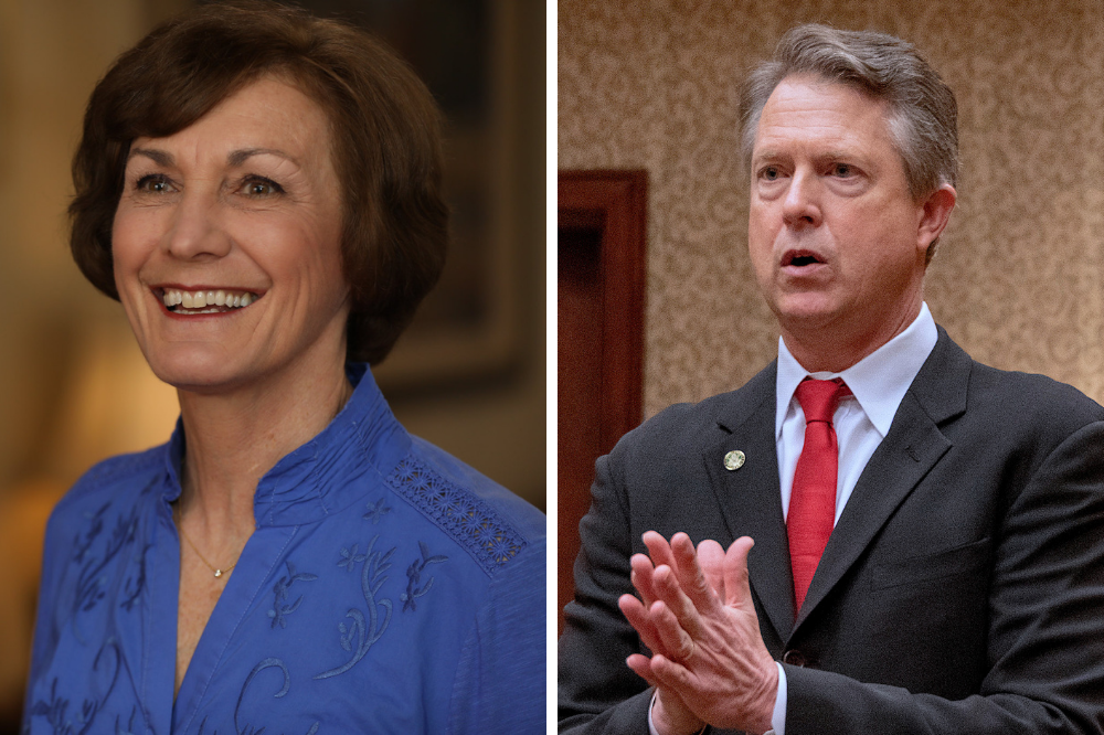 Democratic Kansas state senator Barbara Bollier (left) and U.S. Rep. Roger Marshall (R-Kan.) are vying for a seat in the Senate to represent Kansas. Credit: Barbara Bollier; Mark Reinstein/Corbis via Getty Images
