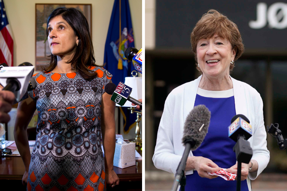 Maine Speaker of the House Sara Gideon is running against Sen. Susan Collins (R-Maine) to represent Maine in the Senate. Credit: Brianna Soukup/Portland Portland Press Herald via Getty Images; Gregory Rec/Portland Press Herald via Getty Images