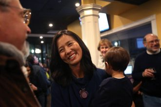 Boston City Councilor Michelle Wu thanks her supporters at her Election Night watch party on Nov. 5, 2019. Credit: Barry Chin/The Boston Globe via Getty Images