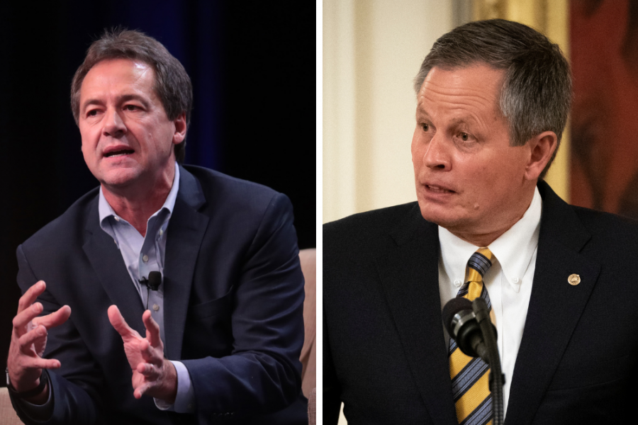 Montana Gov. Steve Bullock (left) is running against Sen. Steve Daines (R-Mont.) to represent Montana in the Senate. Credit: Scott Olson/Getty Images; Drew Angerer/Getty Images