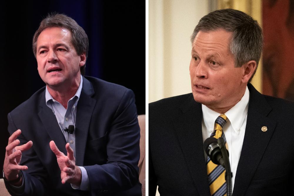 Montana Gov. Steve Bullock (left) is running against Sen. Steve Daines (R-Mont.) to represent Montana in the Senate. Credit: Scott Olson/Getty Images; Drew Angerer/Getty Images