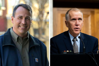 Cal Cunningham (left) is running against Sen. Thom Tillis (R-N.C.) to represent North Carolina in the Senate. Credit: Cal for NC; Erin Schaff/Pool/AFP via Getty Images