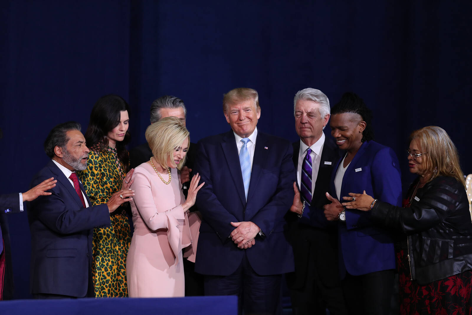 Faith leaders pray over President Donald Trump during a 'Evangelicals for Trump' campaign event held at the King Jesus International Ministry on Jan. 3, 2020 in Miami, Florida. Credit: Joe Raedle/Getty Images