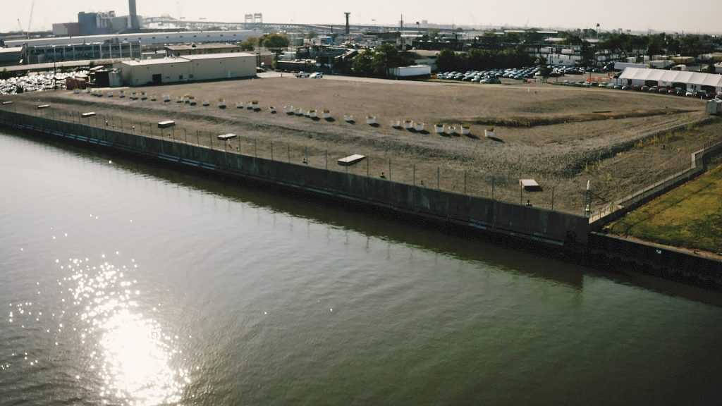The capped site of the former Diamond Alkali factory on the Passaic River. Credit: NBC News