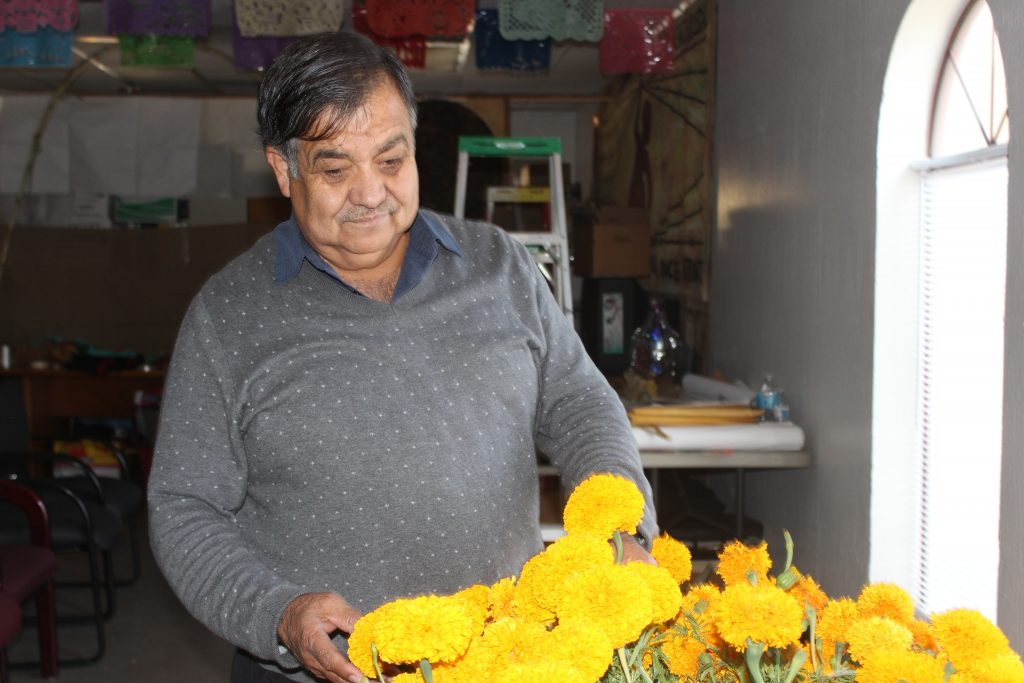 Luis Magaña organizes marigolds for the annual Day of the Dead ceremonies in Stockton honoring farm workers who died on the job over the last year. Credit: Evelyn Nieves/InsideClimate News