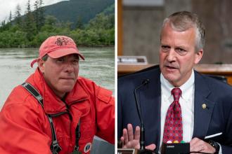 Orthopedic surgeon Al Gross (left) is running against Sen. Dan Sullivan (R-Alaska) to represent Alaska in the Senate. Credit: Al Gross; Al Drago-Pool/Getty Images